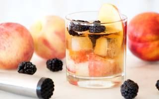 New Old-Fashioned Cocktail With Bourbon and Fresh Peach
