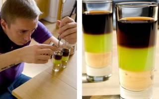 Слоеные безалкогольные коктейли и с добавлением алкоголя